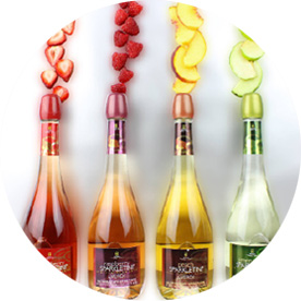 different flavored bottles